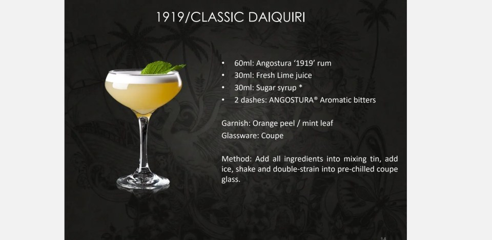 shows a picture and recipe for a classic daquiri, a mixed drink with rum and aromatic bitters