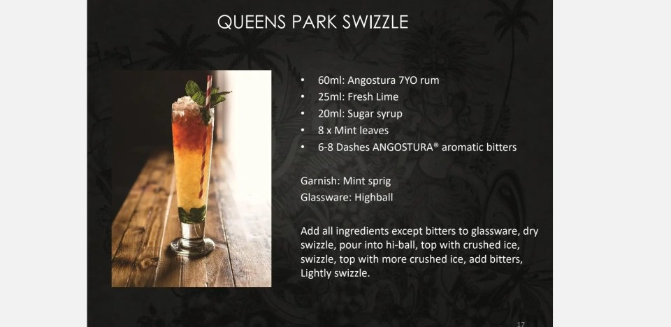shows a picture of a Queens Park Swizzle with recipe for this rum drink