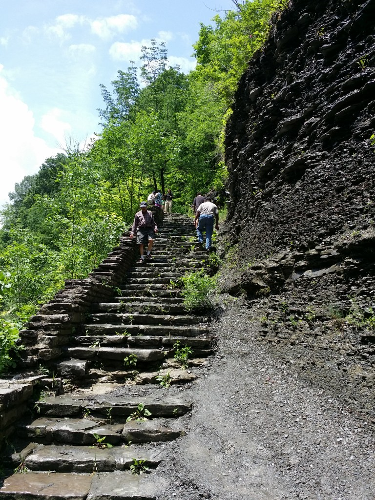 shows steps carved into the rock by the Civilian Conservation Corps at Letchworth State Park New York