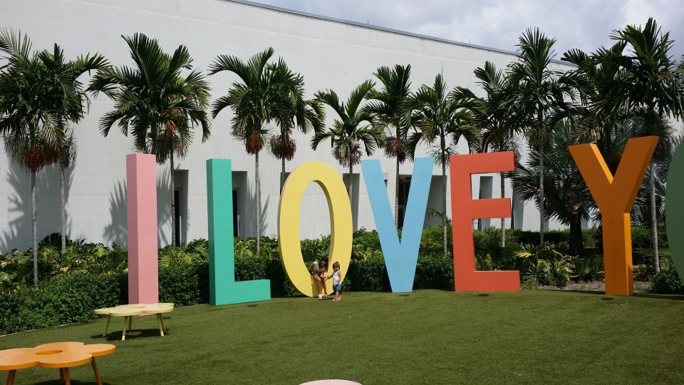 "Giant letter sculpture stating ""I love you"" outside Young at Art great place to visit in south Florida for families"