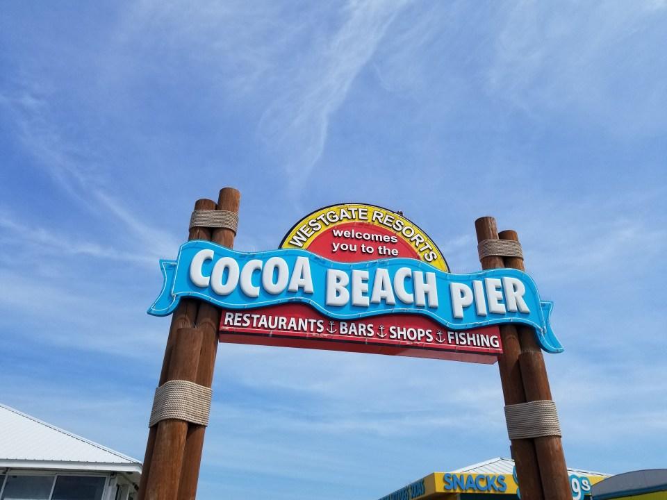 Cocoa Beach Pier sign off coast of Florida