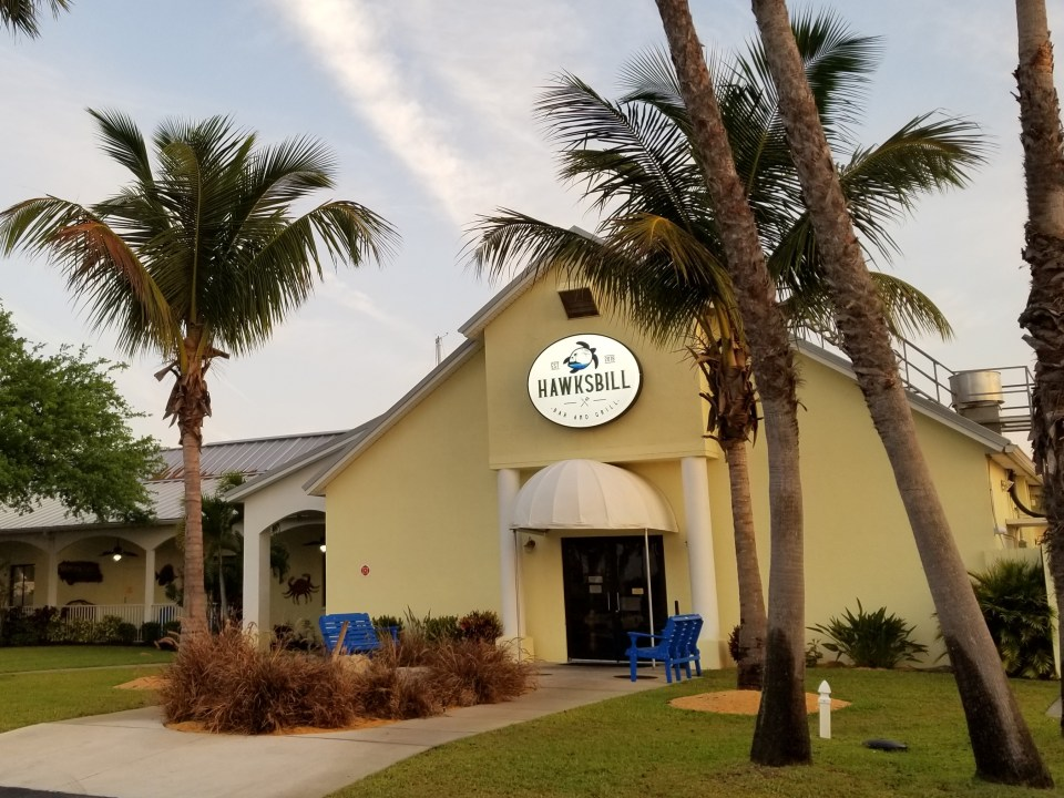 front of the Hawksbill bar and grill at the marina in Merritt Island, one of the islands of Florida