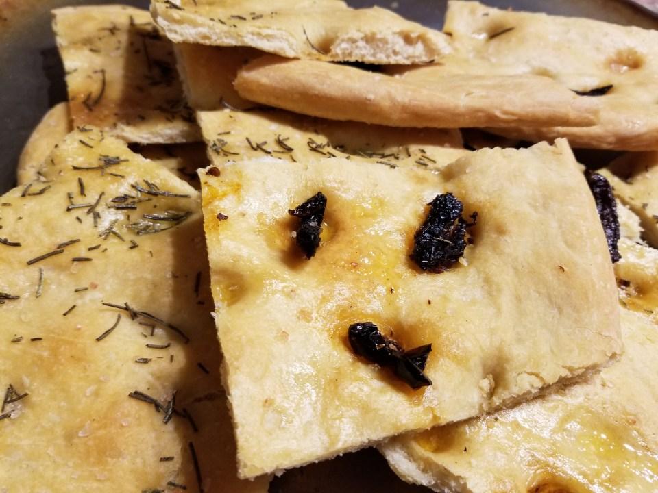 squares of focaccia bread
