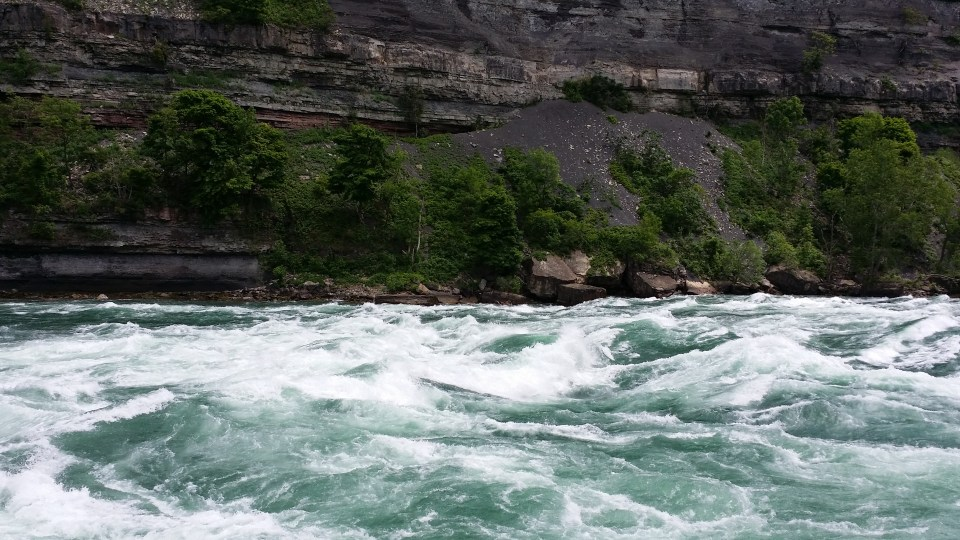 Niagara River view from White Water Walk near hotels Niagara falls Ontario