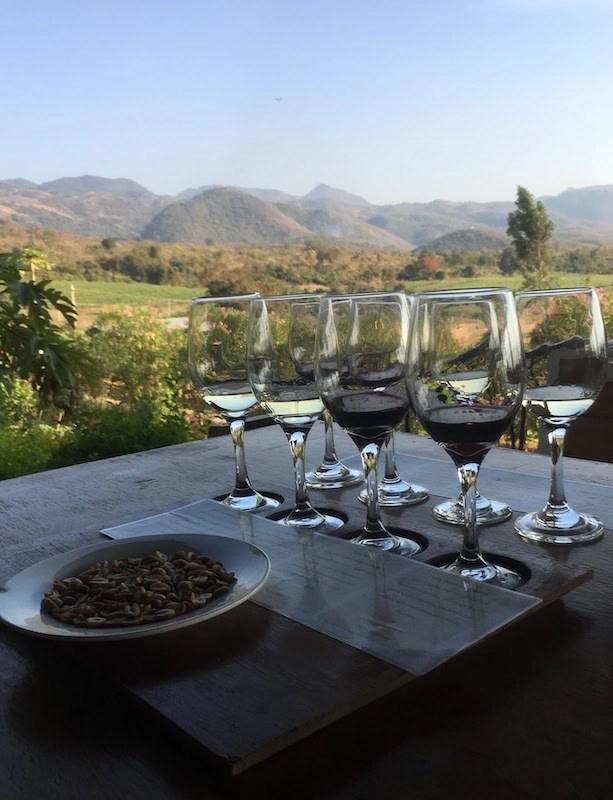 wine glasses for tastings at Red Mountain Vineyard in Myanmar