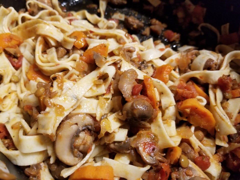 Vegetarian Bolognese over Fettuccine in a pot