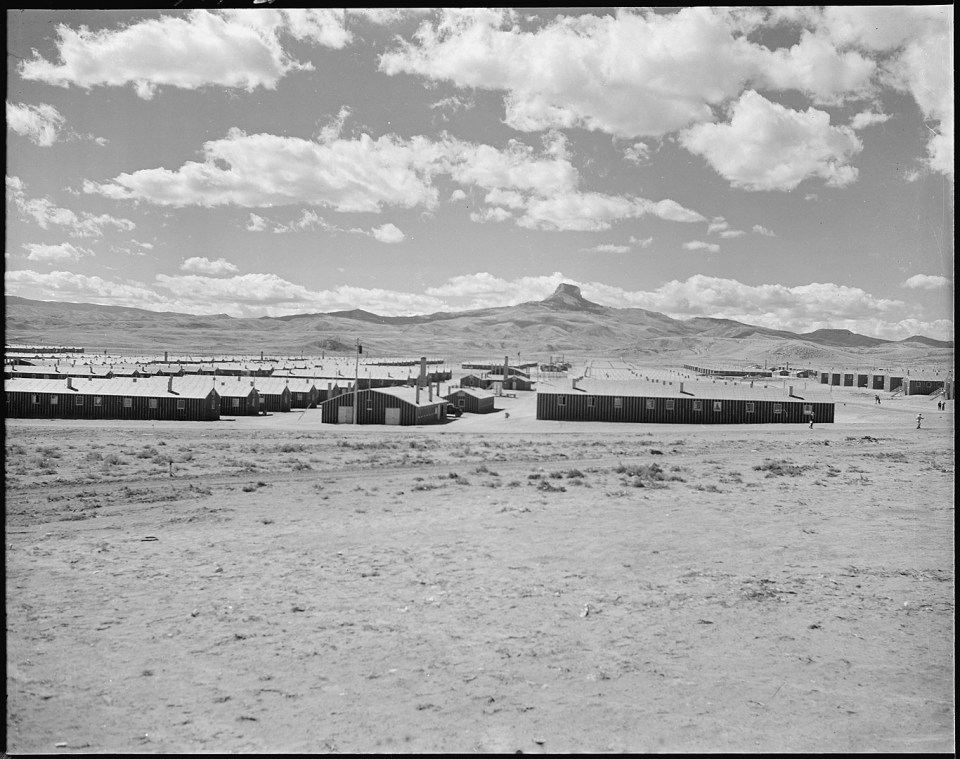 History travel, a black and white photo of a Japanese relocation center in Wyoming