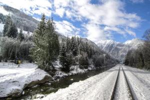 Train Tracks In The Snow