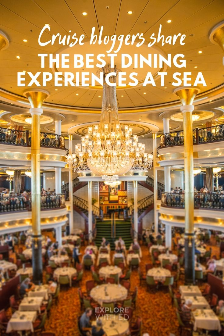 Cruise bloggers share their best dining experiences at sea. This photo is the beautiful grand interior dining room onboard Royal Caribbean's Independence of the Seas