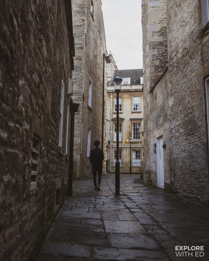 Old side street in Bath with shadowy figure