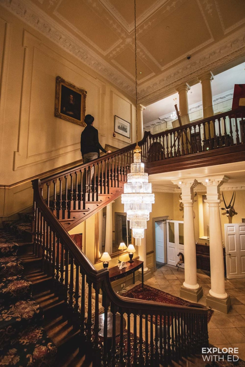 The grand staircase in Nanteos Mansion