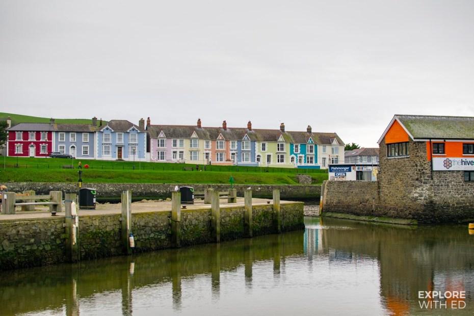 Aberaeron Harbour multi-coloured terraced houses and The Hive café