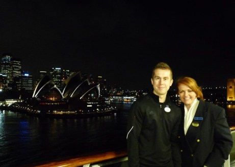 Natalie and her fiance David returning to Sydney after the World Cruise in 2012