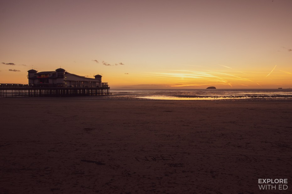 Weston-Super-Mare Pier and beach at sundown