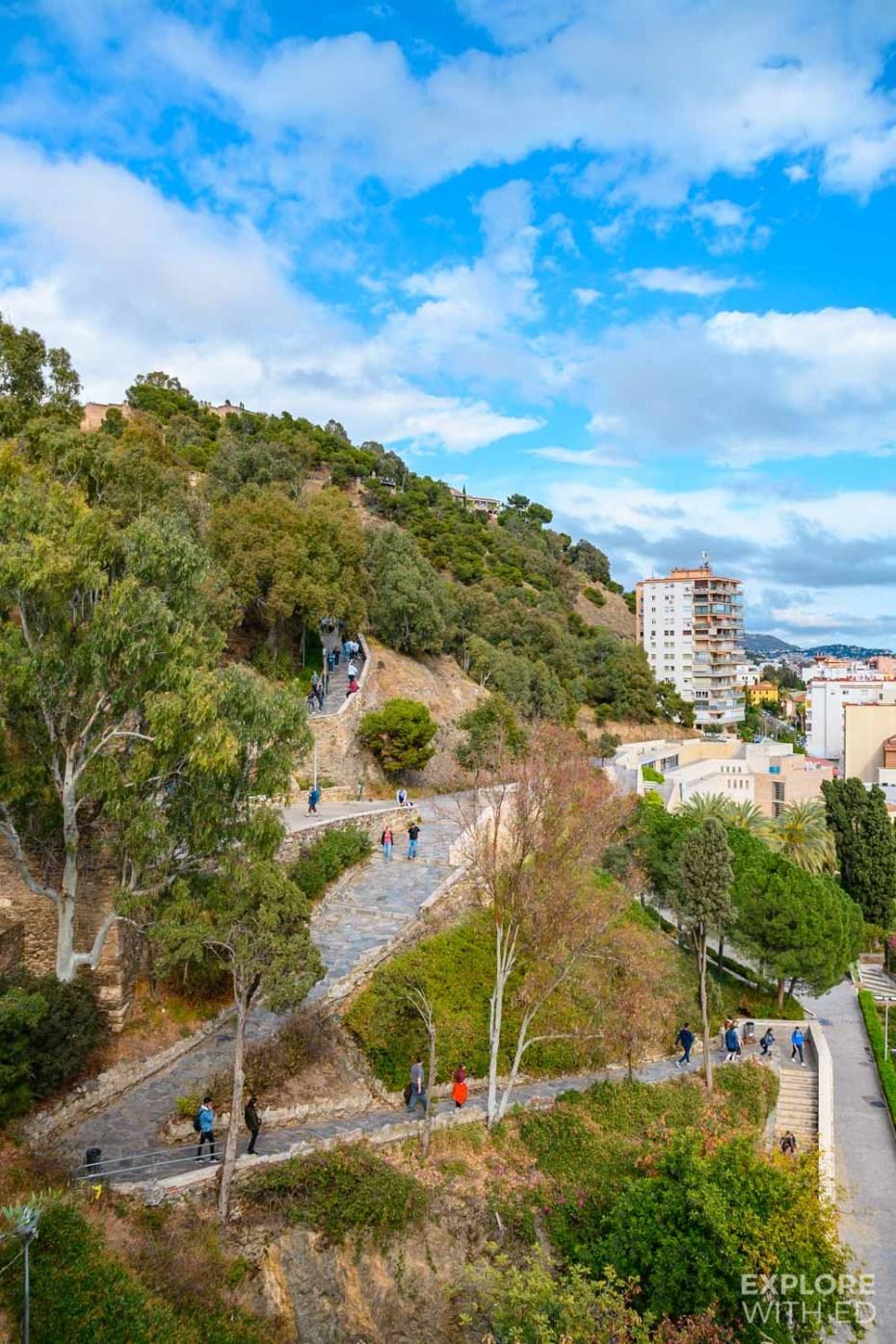 The uphill walk to Gibralfaro Castle in Malaga