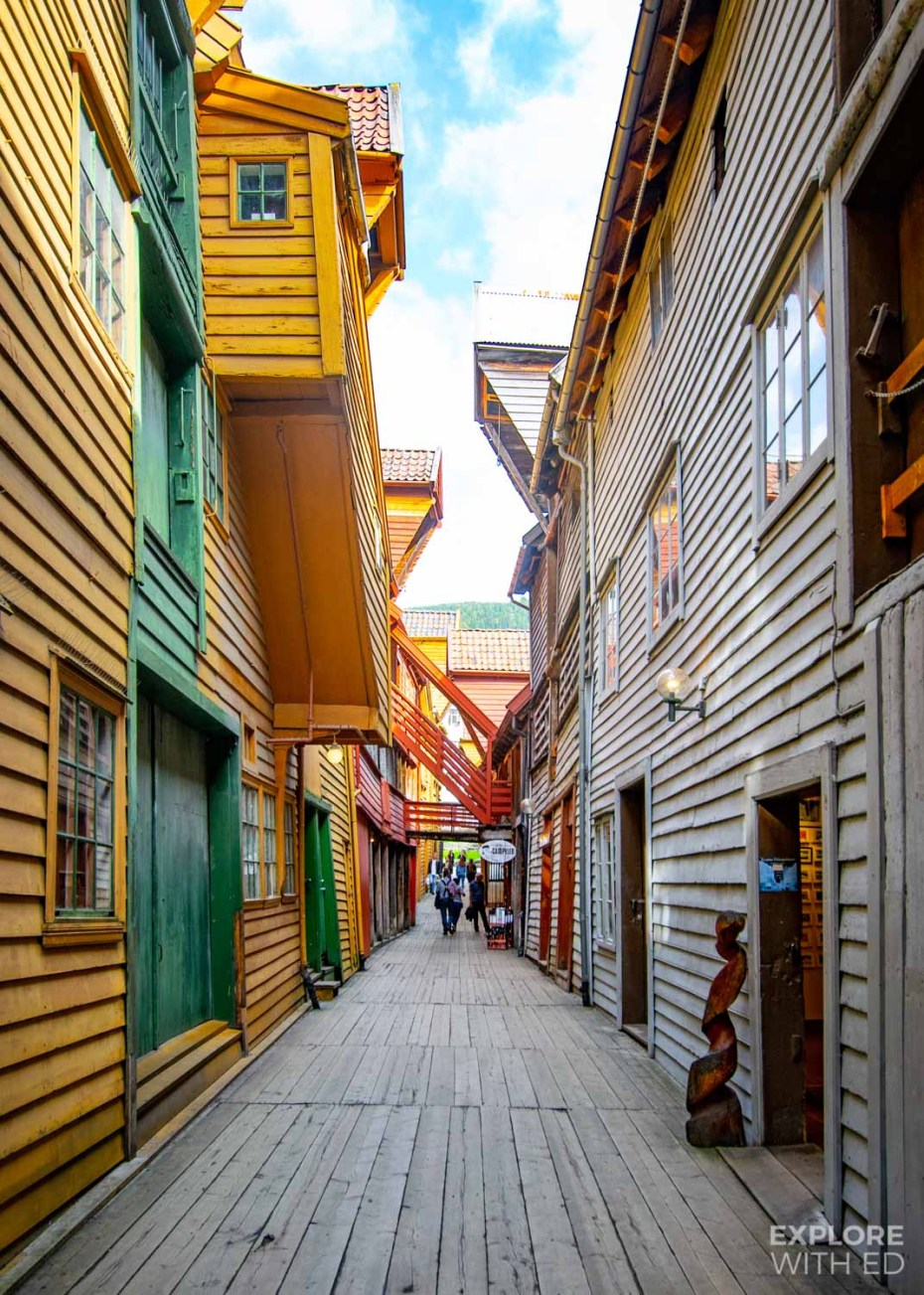 The UNESCO Bergen Harbour with colourful wooden buildings
