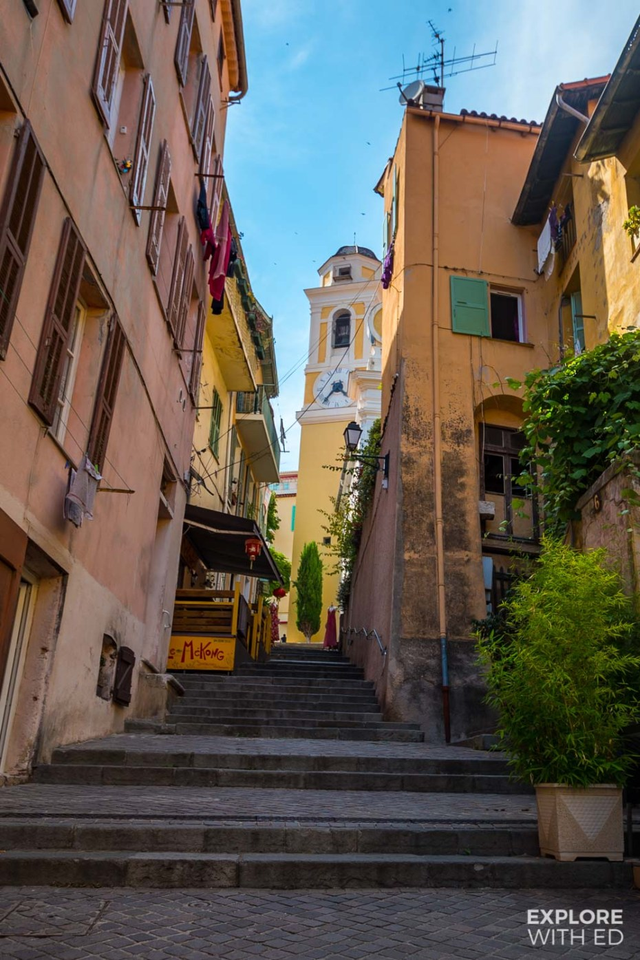 Charming streets of Villefranche-sur-Mer near Eze, France