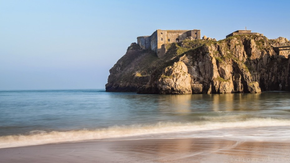 Tenby Castle Beach and the Fortress Remains on St Catherine