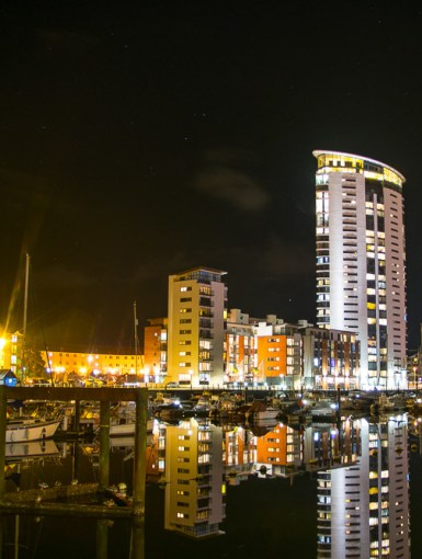 Swansea Marina at night