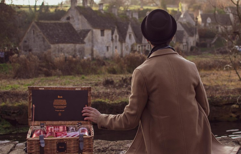 The Chelsea Christmas Hamper by Harrods with the iconic Arlington Row in the background