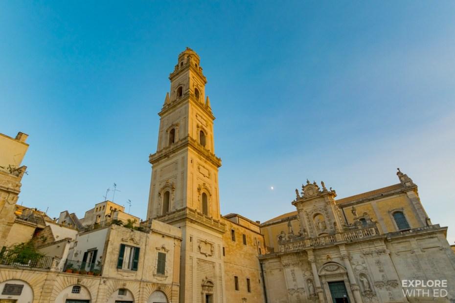 The beautiful Baroque architecture in Piazza del Dumomo in Lecce, Italy