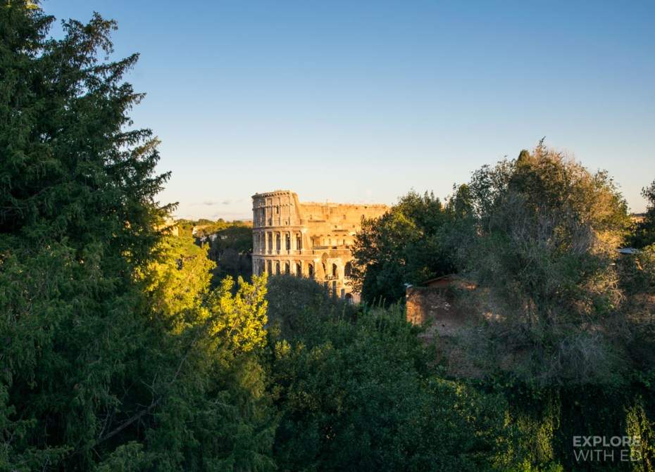 A hillside view of the Colosseum