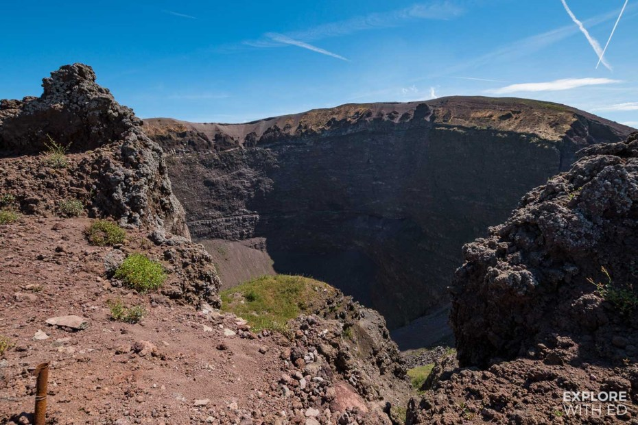 Looking into the crater of Mount Vesuvius