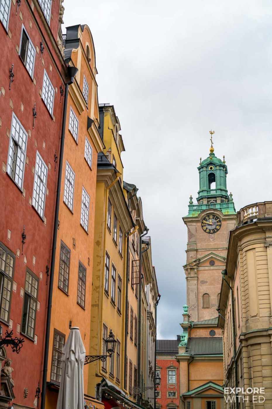 The old town of Stockholm with colourful townhouses