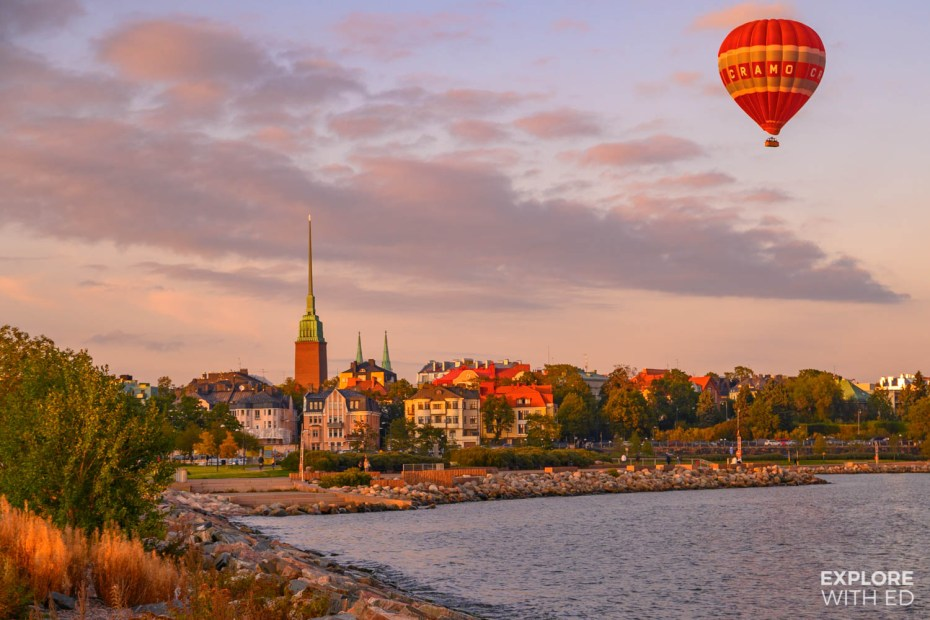 Helsinki cityscape with a hot air balloon
