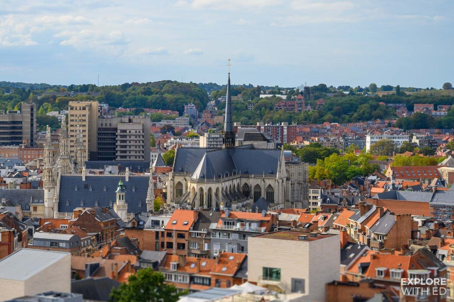Leuven from above with St Peter's Church