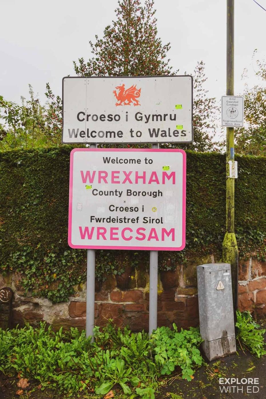 Welcome to Wrexham, Wales sign near Farnham Bridge