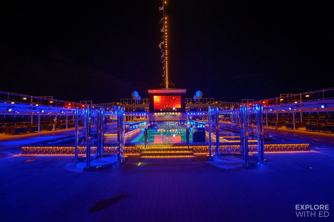 MSC Grandiosa pool at night