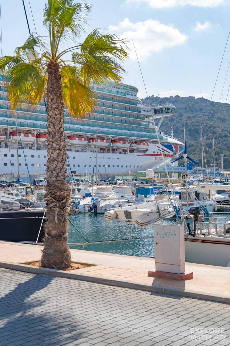 P&O Cruises Ventura docked in Cartagena, Spain during an Iberian Cruise