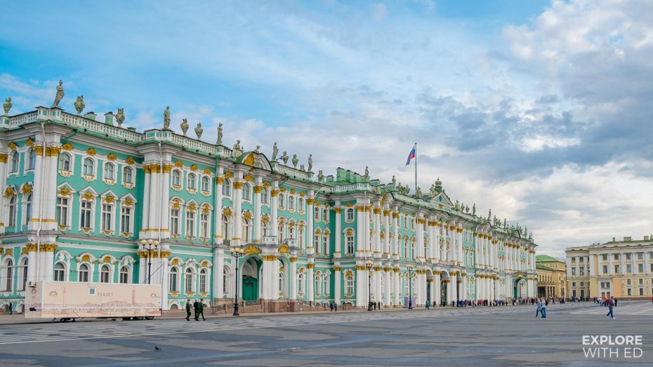 The Hermitage Winter Palace facade from the Palace Sqaure