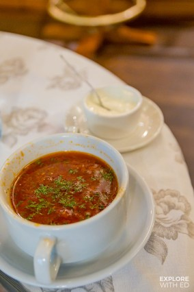 Borscht soup in Saint Petersburg