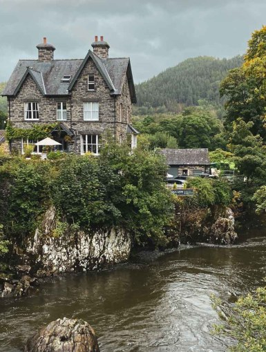 View from the river bridge in Betws-y-Coed, Wales