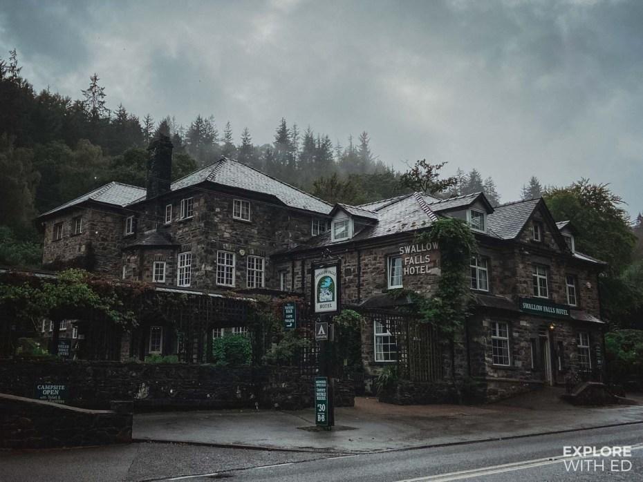 Swallow Falls hotel near Betws-y-Coed, Wales