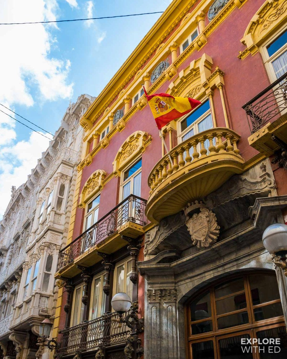 Traditional Spanish buildings in Cartagena, Spain