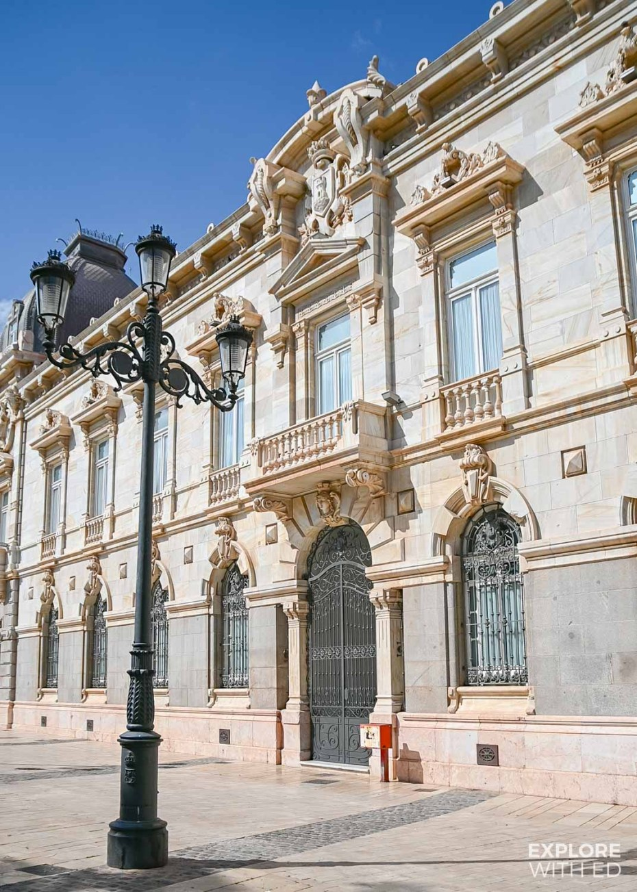Pretty architecture and lampposts in Cartagena, Spain