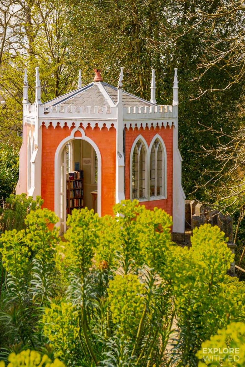 Rococo Style red garden building in Painswick Garden