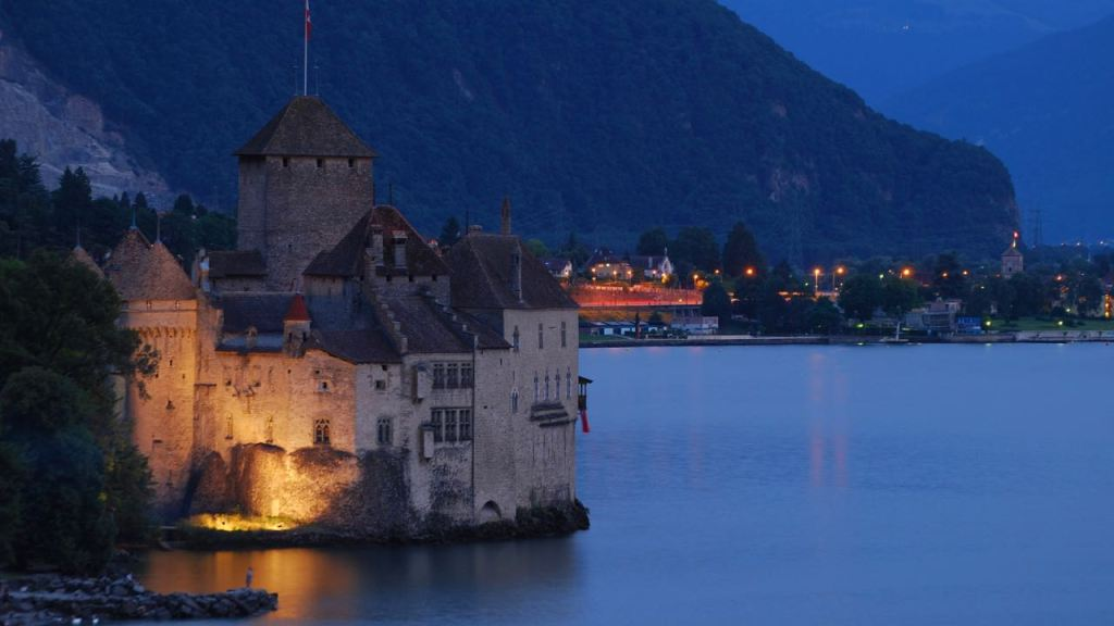A beautiful sight of Chillon Castle at night. Credit: Fawaz Al-Arbash CC-BY-2.0