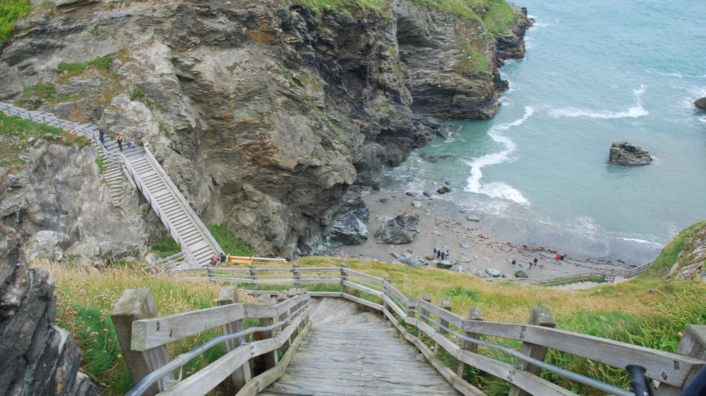 Steps between the mainland and island, Tintagel Castle