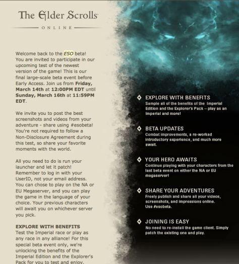 Elder Scrolls Online - Final Beta Test Invite