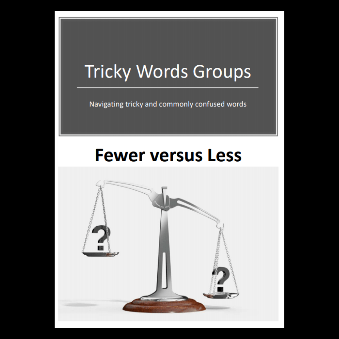 Tricky Word Groups 5 Fewer Vs Less Downloadable