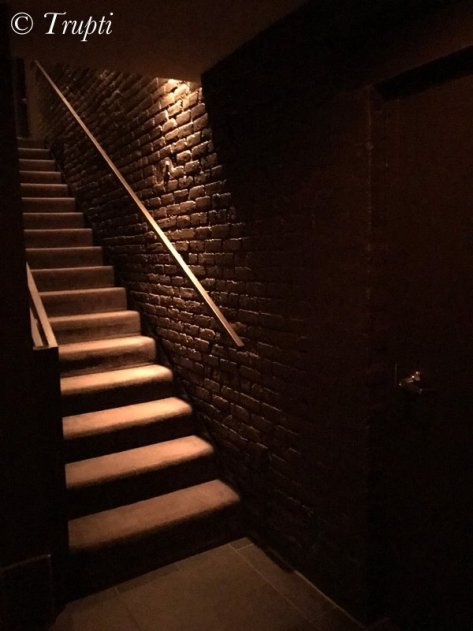 Steps leading to the basement of the Aviary restaurant