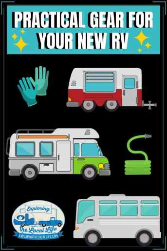 Getting an RV? That's just part of the equation. Don't forget to get these 12 practical items before going on your first trip! #rvgear #rvlife #rvmusthaves