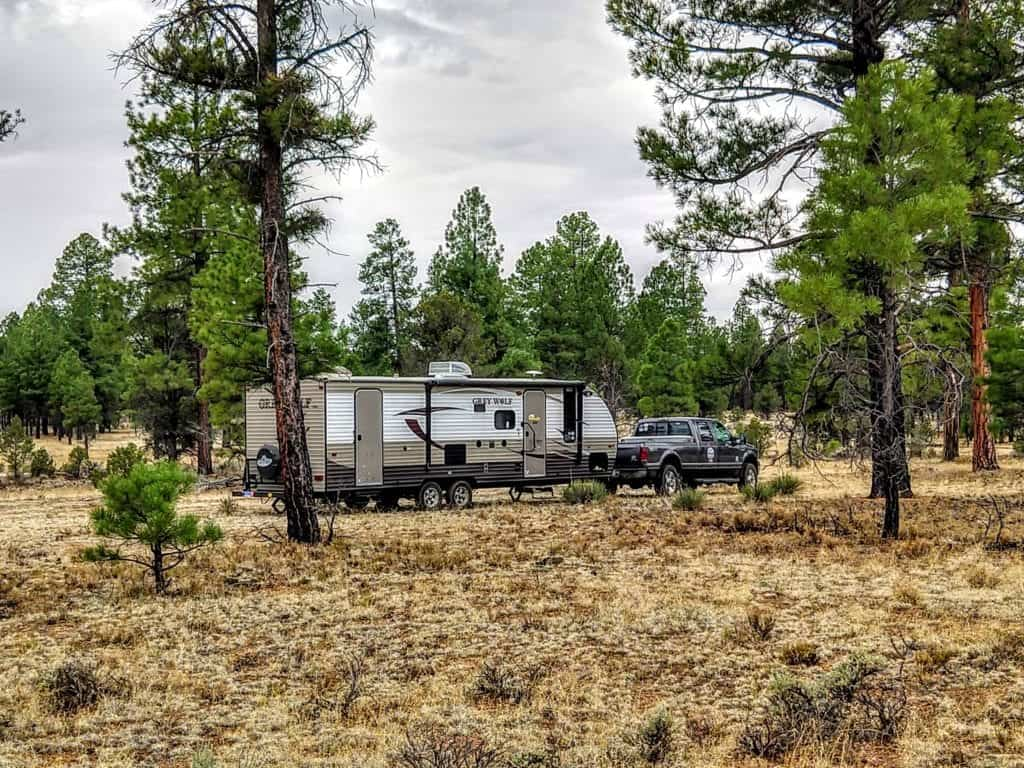 RV boondocking in Arizona in the Kaibab National Forest. Free RV camping in the woods.