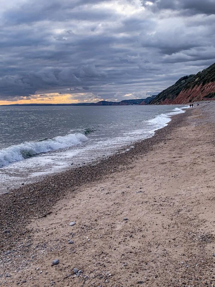 The shoreline on Branscombe Beach