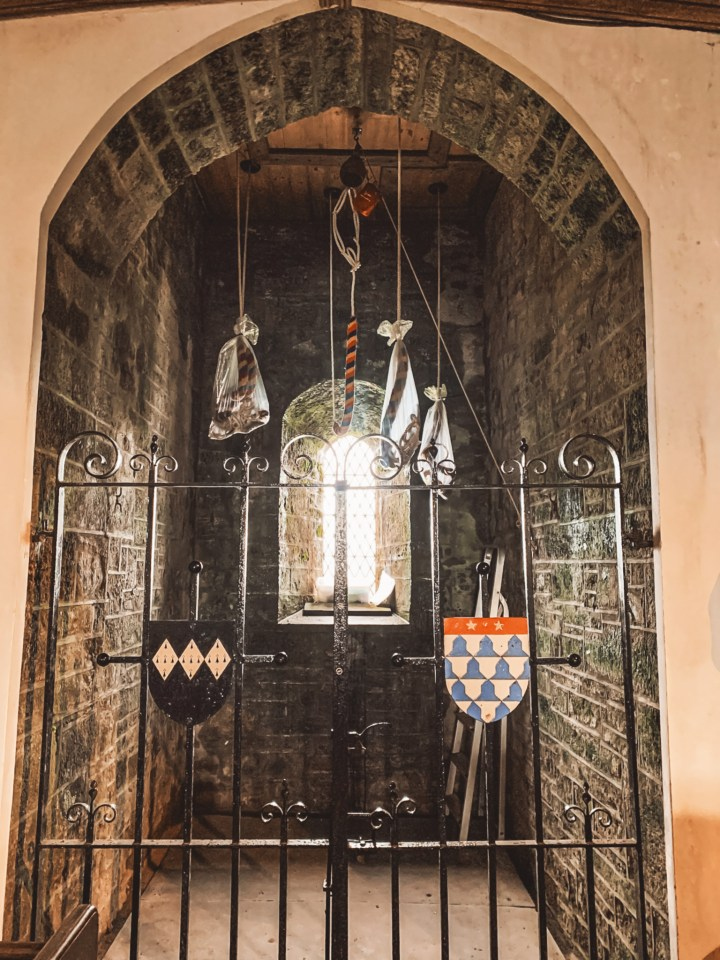 The archway into the bell tower where George Rosedhu met Margery of Quether