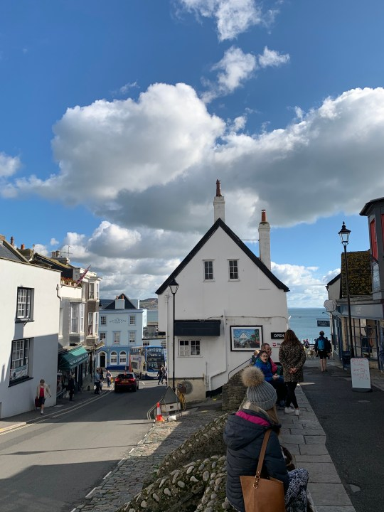 Exploring Lyme Regis and trying to recreate the classic image of the town centre with the sea in the background